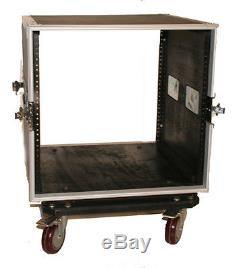 10 SPACE RACK CASE WITH 2U LOCKING DRAWER Amp Effect Mixer PA/DJ PRO CASTERS