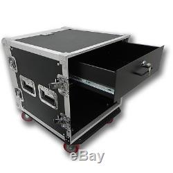 10 SPACE RACK CASE WITH 3U LOCKING DRAWER Amp Effect Mixer PA/DJ PRO CASTERS