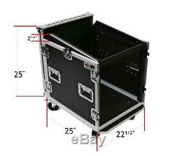10u Space ATA Road DJ Combo Rack Case with 12u Slanted Rack Rails for Mixers