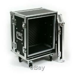 12 SPACE 12 DEEP RACK MOUNT ATA SHOCK EFFECTS ROAD RACK FLIGHT CASE with CASTERS