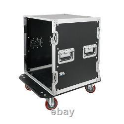 12 Space Pro Audio DJ Road Rack Case with Casters 12U Pro Tour Grade Case