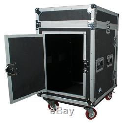 12 Space Rack Case with Slant Mixer Top and Casters Amp Effect PA/DJ Pro Audio