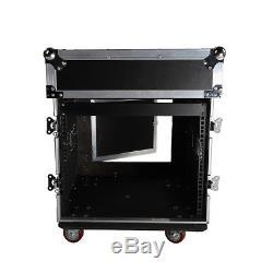 12U 12 Space Rack Case with Slant Mixer Top DJ Mixer Cabinet + 4Pcs Casters