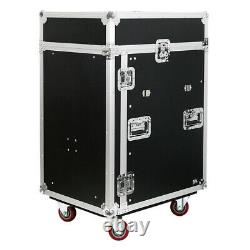 14 Space Pro Audio DJ Road Rack Case with DJ Work Table & Casters Pro Grade