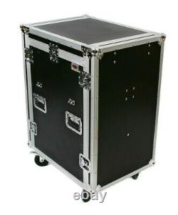 16 & 12 Space Rack Mount Slanted Mixer & Amp Combo Ata Road Flight Case Console
