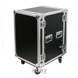 16 Space Pro Audio DJ Road Rack Case with Casters 16U Pro Tour Grade Case