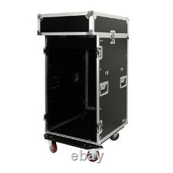16 Space Pro Audio DJ Road Rack Case with DJ Work Table & Casters Pro Grade