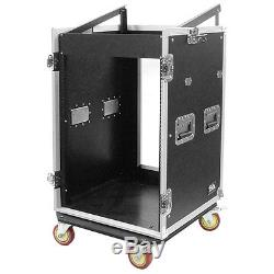 16 Space Rack Case with 10 Space Slant Mixer Top and DJ Work Table 16U DJ Case