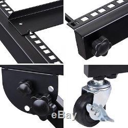 16U 19 Rack Mount Mixer Case Stand Studio Equipment Cart Stage Amp DJ Rolling
