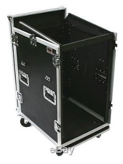 20 & 12 SPACE RACK MOUNT SLANTED MIXER & AMP COMBO ATA ROAD FLIGHT CASE CONSOLE