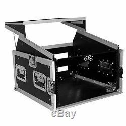 6U Rack x 10U Top Mixer DJ Combo Flight Case w Laptop Shelf