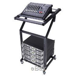 9U 19 Rack Mount Mixer Case Stand Studio Equipment Cart Stage Amp DJ Rolling