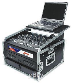 AUDIO DYNAMICS 10U TOP 8U BOTTOM DJ CASE WithGLIDE TRACK SHELF F/LAPTOP MR-108C