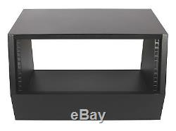 Black 4u angled 19 inch wooden rack unit/case/cabinet for studio/DJ/recording