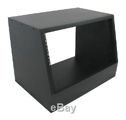 Black 6u angled 19 inch wooden rack unit/case/cabinet for studio/DJ/recording