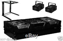 DJ LARGE CD MIXER FLIGHT COFFIN CASE W PORTABLE LAPTOP STAND 2x LED EFFECT LIGHT