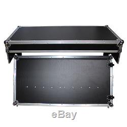 DJ Z-Style Portable Folding Mixer Table All in One ATA Road Case Black with Wheels