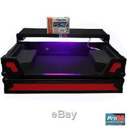 Denon MC7000 flight road case laptop shelf wheels LED kit black on red club DJ