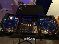 LED DJ Coffin With Two Denon DN-S3700 PLAYERS AND ONE DN-X1600 4 CHANNEL MIXER