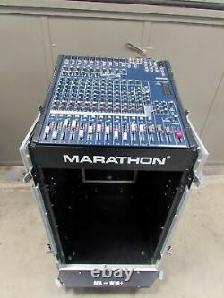 MARATHON ROLLING A/V-DJ SLANT 19 RACK ROAD CASE with Yamaha MG166CX MIXER