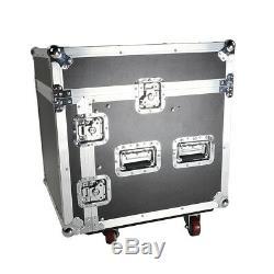 New 12U Rack Case with Slant Mixer Top DJ Mixer Cabinet with 4pcs Casters