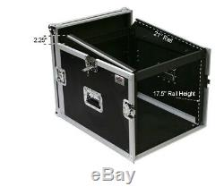New 8 Space ATA Mixer Amp Rack OSP Case with Top Mount & wheels 8U 12U on top