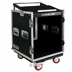 OPEN BOX Sound Town 12-Space Audio Rack Road Case Slant Mixer Top STMR-12UW-R