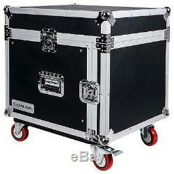 OPEN-BOX Sound Town 8-Space Rack/Road Case Slant Mixer Top, Caster STMR-8UW-R