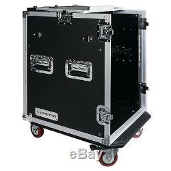 OPEN BOXSound Town 14U PA Case with 11U Slant Mixer Top 2 DJ Tables STMR-14UWT2-R