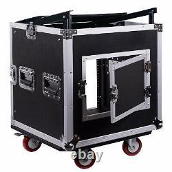 OPEN BOXSoundTown 10U Rack Road Case with 13U Slant Mixer Top Casters STMR-10UW-R