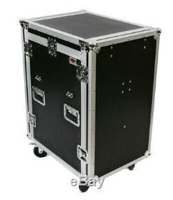 OSP 16-Space ATA Mixer/Amp Rack Flight Tour Road Case with Table MC12U-16SL