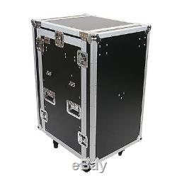 OSP 16 Space Mixer/Amp ATA Rack Road Case with10 Space Top Mixer Mounting