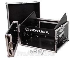 Odyssey FR0804 8U x 4U Slant Top Mixer/DJ Rack Case + 1SKB-AV8 A/V Laptop Shelf