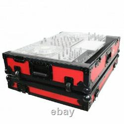 Pro X Flight Case for Denon Prime 4 Standalone DJ System withWheels (Black on Red)