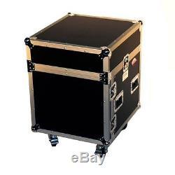 Pro X T-10MRSS 10U x 10U Slanted DJ Rack Flight Case With Wheels+3/8 Wood