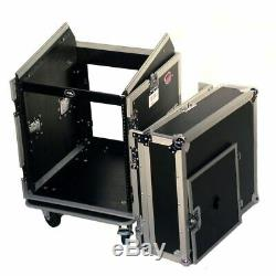 Pro X T-12MRSS 12U x 10U Slant Combo DJ / Mixer Rack Case + Sliding Laptop Shelf