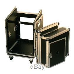 Pro X T-14MRSS 14U x 10U Slant Combo DJ Rack Case withWheels +Sliding Laptop Shelf