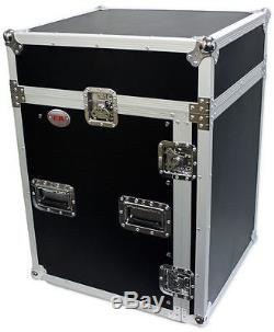 Pro X T-14MRSS 14U x 10U Slant Combo DJ Rack Flight Case with 4 Wheels/Casters