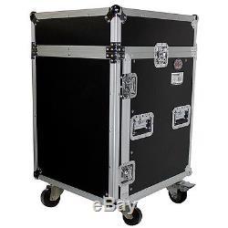 Pro X T-14MRSS 14U x 10U Slant Mixer Combo DJ Rack Flight Case with 4 Wheels