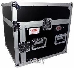Pro X T-8MR 8U x 10U Space Slant DJ Combo Rack Flight Case +Sliding Laptop Shelf