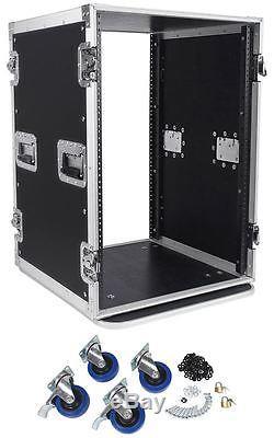 Pro X TOV T-16RSS 16U 3/8 Wood ATA300 Rack DJ Amplifier Flight Case with Wheels