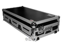 Pro X XS-CDM10-12WLT DJ Coffin Flight Case (2)Lg CD Players+Mixer withLaptop Shelf