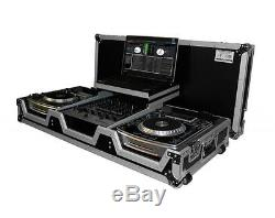 Pro X XS-CDM10-12WLT DJ Coffin Flight Case (2)Lg CD Players+Mixer withLaptop Shelf