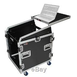ProX 12U Rack x 13U Top Mixer DJ Combo Flight Case w Laptop Shelf & Casters T