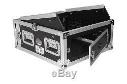 ProX 4U Vertical Rack x 10U Top Mixer Case DJ Combo Flight Case