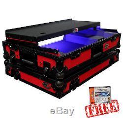 ProX Pioneer DDJ-SX/DDJ-SX2 Controller Flight Case w Laptop Shelf & Wheels, Red