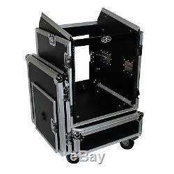 ProX T-12MRSS DJ Rack 12U Bottom x 10U Mixer Slanted Top Flight Case with Wheels