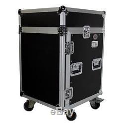 ProX T-14MRSS 10U Rack x 10U Top Slant Mixer DJ Combo Flight Case with casters NEW