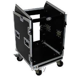 ProX T-16MRSS DJ Rack 16U Bottom x 10U Mixer Slanted Top Flight Case with Wheels