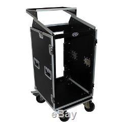 ProX T-18MRLT 18U Rack Front load x 10U Top Mixer DJ Flight Case with Laptop Shelf